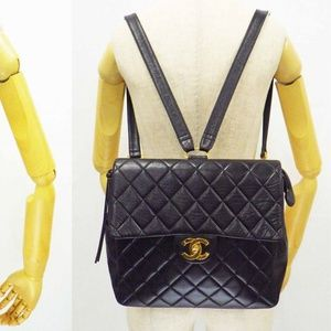 VINTAGE CHANEL Backpack Quilted Chain Black